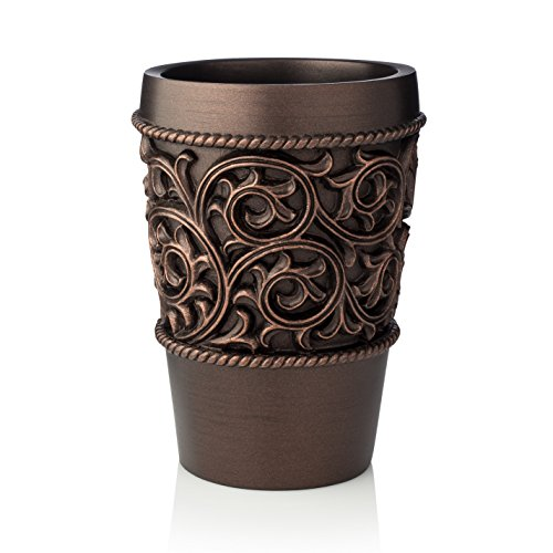 EssentraHome Bronze Bathroom Tumbler Cup For Vanity Countertops, Also Great as Pencil/Pen Holder and Makeup Brush Holder