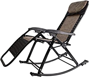 Recliners Outdoor Adult Rocker, Portable & Folding Rocking Chair, Heavy Duty for Outdoor Patio Garden Deck Zero Gravity Chair, Support 200kg (Color : Brown)