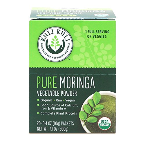 Kuli Kuli Pure Moringa Organic Vegetable Powder, 20 Single Serve Packets (Pack of 12) Organic, Raw, Vegan, 3g Complete Plant Protein and 1 Full Serving of Veggies Per Packet, Soy and Gluten-Free