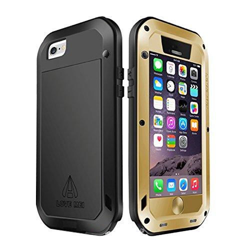 Desconocido Love Mei Resistente al Agua a Prueba de Golpes Carcasa metálica Protectora Resistente Gorilla Glass para iPhone 6Plus–Dorado