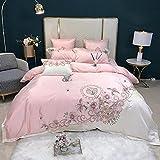 Bettbezug 90 X 200 Spannlaken,Rosa Weiß Chic Blume Stickerei Baumwolle Satin BettwäSche Sets Duvet...