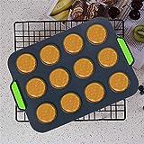 CHAWHO Mini Muffins Backform Silikon Muffinform - Kuchenform Klein 12er Muffinblech mit Antihaftbeschichtet, Backblech Silikonform für Cupcakes, Kuchen, Pudding, 31x21cm