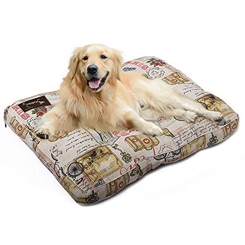 Petaccom-petking Cama para Perro Extra Grande - Colchón para Mascotas Extraíble y Lavable Cojín Perro Suave y Antideslizante, Sello de París, L, 118 x 78 x 15 cm
