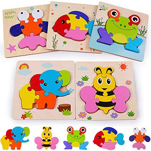 Rolimate Holzpuzzle 3D Steckpuzzle Holzspielzeug, Montessori Spielzeug Lernspielzeug Tierpuzzle Frühpädagogisches Vorschulspielzeug, Bestes Geburtstagsgeschenk für 3 4 5+ Jahre (5 Pack)