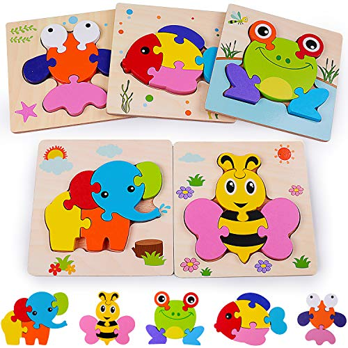 rolimate Wooden Jigsaw Puzzles, Montessori Toy for 2 3 4 5+ Years Old Boys Girls Toddlers, Fine Motor Color Shape Recognition Early Educational Preschool Learning Toy, 5 Pack Animals - Best Gift