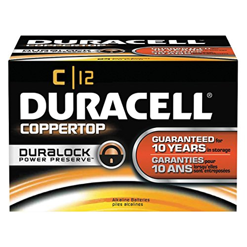 Coppertop Alkaline Batteries with Duralock Power Preserve Technology, C, 12 Count (Pack of 1)