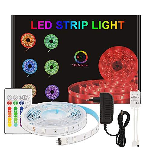 Aourow Tira LED 5m RGB,Tiras LED Flexible con Control Remoto de 24 Teclas y Adaptador de 12V,LED Strip Multicolor 5050 SMD 150 LEDs con Autoadhesivo para Decoración,No Impermeable
