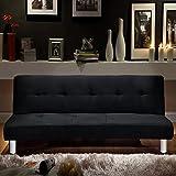 Sofá cama Bagno Italia de 3 puestos de microfibra negro, estilo moderno, sofá reclinable para sala de estar
