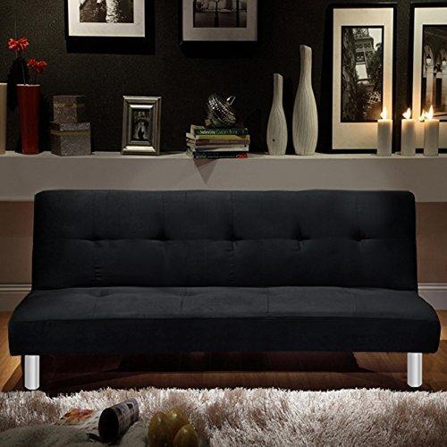 Bagno Italia Divano Letto 3 posti Microfibra Nero Stile Moderno recrinabile da Soggiorno divani Design Modello Veronica I