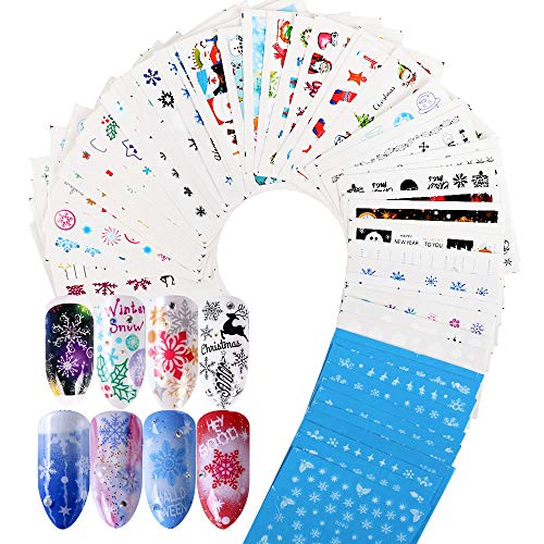 VINFUTUR 60 Hojas Pegatinas al Agua para Uñas Decorativas Pegatinas Uñas Transferencia Agua Nail Art Stickers...
