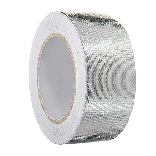 Selbstklebend Klebeband Aluminiumband Hitzebeständig Hitzeschutzband,Reißfest UV Beständig Alu-Klebeband Aluminium-klebebänder Aluband mit Einem Glasgittergewebe zum Abdichten oder Dämmen 5cm*25m