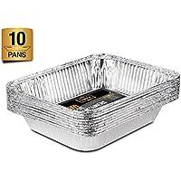 Paquete de 10 bandejas de papel de aluminio desechables para asar en horno y almacenamiento de alimentos, de tamaño Gastronorm 32x 26cm