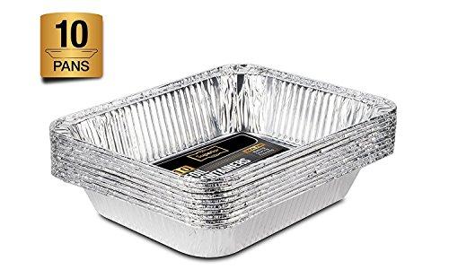 Aluschalen Alu Auflaufform: 10er Lunchbox Set zum Aufbewahren von Essen oder als Backform Aluminiumbehälter - Einweg Grillschale Half Size Gastronorm Pfanne 32 x 26 cm 10 Stück
