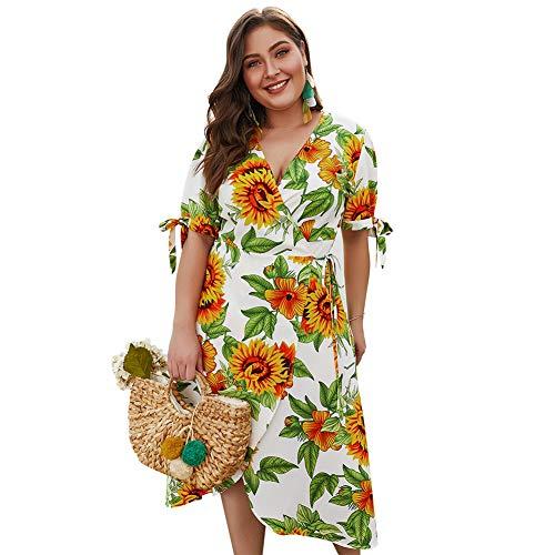 RUIXIAO Damenkleid mit V-Ausschnitt, kurzen Ärmeln, großem Größengurt, Taillenbund, unregelmäßigem Sonnenblumenkleid,White,XL