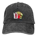 Casquillo de coca de comida chatarra y dieta, unisex retro sombreros simples hombres mujeres