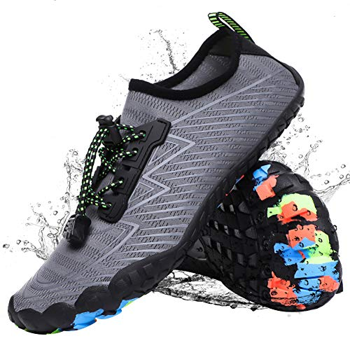 Water Shoes for Women Men Barefoot Quick-Dry Shoes Aqua Shoes Swim Shoes Mens Womens Water Sports Shoes River Shoes Grey 9 M US Women / 8 M US Men