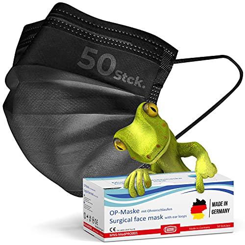 kela, 50 Stck. OP Maske schwarz 100% Made in Germany, medizinische Mund Nasenschutzmaske, chirurgische Einweg-Maske, CE zertifiziert, DIN EN 14683 Typ II, BFE >98%, 3-lagig, ab Lager (50)