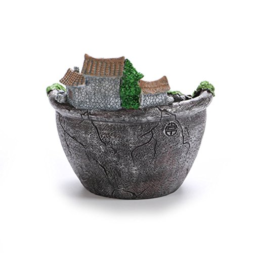 WINOMO Artificial Flowers Succulent Plants Pot Hanging Garden Design with Sweet House (Silver)