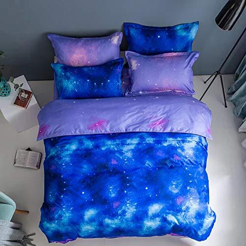 XUNGENG - Set di biancheria da letto decorativa, 2/3 pezzi, colorato, 100% microfibra, per bambine e adolescenti, copriletto leggero, motivo: cielo stellato (C,220 x 260 cm)