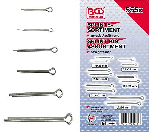 BGS 8048 | Splinte-Sortiment | 555-tlg. | Ø 1,6 - 4,0 mm | inkl. Sortimentskasten | Sicherungsstifte