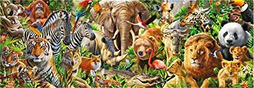 DIY 5D Diamond Embroidery Paintings by Number Kits,Crystal Rhinestone Pictures Arts Craft for Home Wall Decor,Full Drill,African Wild Animals -L9006-Square Drill,65x130cm(25.6 * 51.2inch)