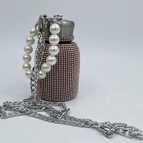 Botella De Agua Termo De Diamantes Con Pulsera De Perlas, Botella De Agua De Diamantes De Imitación, Taza De Frasco De Vacío, Regalo Para Cumpleaños y San Valentín (Oro rosa)