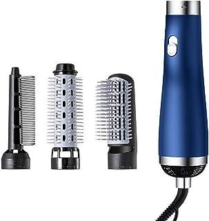 LYHD Secador Secado Rápido Secador de Pelo Peine Alisador para Cabello Cepillo de Aire Caliente Intercambiable Cabezal de Cepillo Iónica Negativa Cepillo Alisador Pelo,Azul