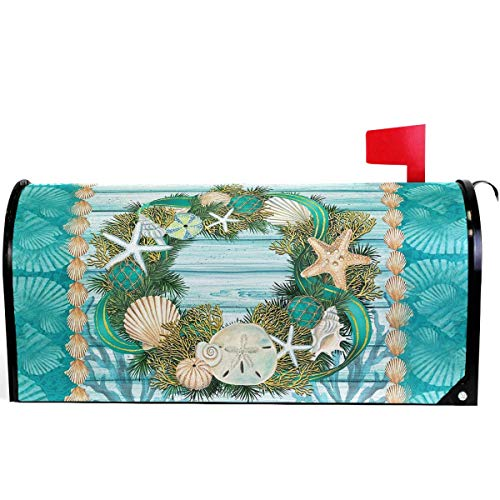 Xhayo US Mailbox | Amerikanischer Briefkasten Summer Beach Seabell Starfish Mailbox Cover Magnetic Standard Size,Tropical Pineapple Palm Letter Post Box Cover Wrap Decoration 21