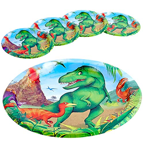 Kicko Dinosaur Paper Plates - 32 Pack - 6.75 Inches - Disposable Tableware Accessories for Birthday Parties, Kids Parties, Dino Parties, School Activities and More