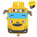 Willikiva Little Cute Bus Mini Toddler Travel School Backpack for Kids Boys Girls to Preschool Waterproof Children with Safety Harness Leash Chest Strap Bag(Yellow)