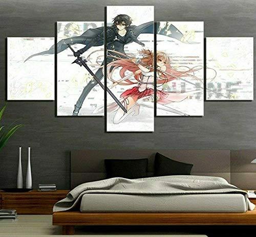 5 Piezas De Arte Cuadros Decoracion Salon,Póster De Sword Art Online Moderno HD sobre Lienzos ImpresióN Cuadro Usado para Sala Oficina Hogar Decoracion De Pared Marco/150x80CM