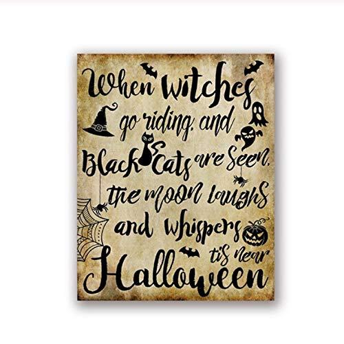 Terilizi Wanneer heksen rijtekens bedrukken beangstigend Halloweenteken vintage poster canvas schilderij schilderij wanddecoratie 40 * 50 cm-niet ingelijst