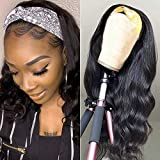 BEEOS 150% Density Glueless Headband Wigs Body Wave 9A Virgin Human Hair Wigs Machine Made Natural Black None Lace Wig...