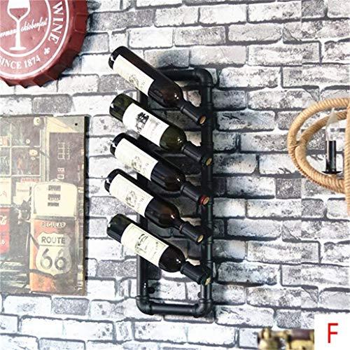 BINHC Estante para Vinos, Bar, Restaurante, Estante para Copas de Vino, Soporte para Botellas de Vino para Colgar en la Pared, Metal, Hierro, Vino, Pipa de Agua, Estantes de Alenamiento, Estilo Vinta