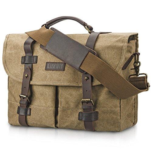 Lifewit 15.6 Inch Laptop Bag Vintage Leather Messenger Bags Water-resistant Canvas Briefcase (Khaki)