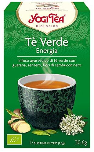 Yogi Tea - Té Verde Energía, Infusión Ayurvédica de Té Verde con Guaraná, Jengibre y Flores de Saúco - 17 Bolsitas, 30,6g