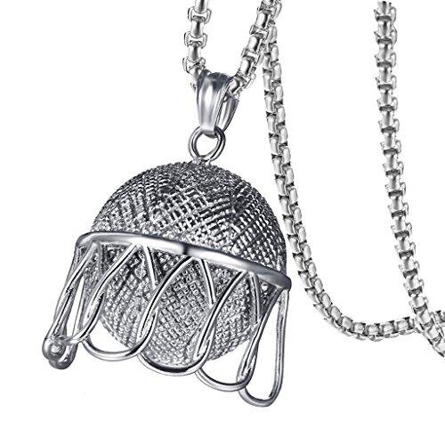 dailymall Mode Basketball Anhänger Halskette Edelstahl Kette Ball Pullover Kette