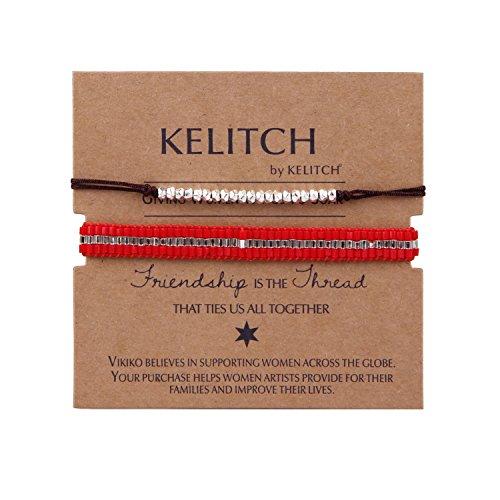 KELITCH pulsera envolvente hecha a mano con cuentas de Jade lapislázuli joyería de verano