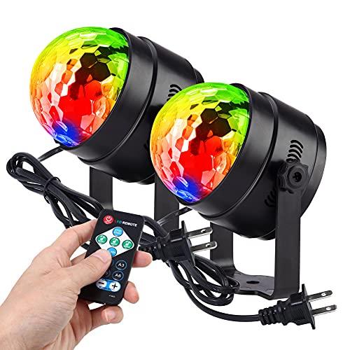 Litake(リテーク) LED ミラーボール ディスコライト 家庭用 7色 RGB 回転 リモコン付き 音声起動 多色変更 クラブ パーティー ステージ 舞台照明 (2個セット)