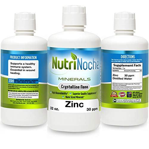 NutriNoche Liquid Zinc - Best Zinc Supplement - Colloidal Minerals - 30 PPM - Highly Absorbable Zinc Supplement (32 Ounces)