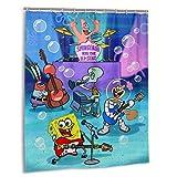 KANBGMTR Shower Curtain Spongebob Squarepants 12 Pack Plastic Hooks Polyester Fabric Bathroom Curtain, Shower Curtain for Bathroom Home Decor 60x72 inch
