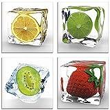 Artland Glasbilder Wandbild Glas Bild Set 4 teilig je 30x30