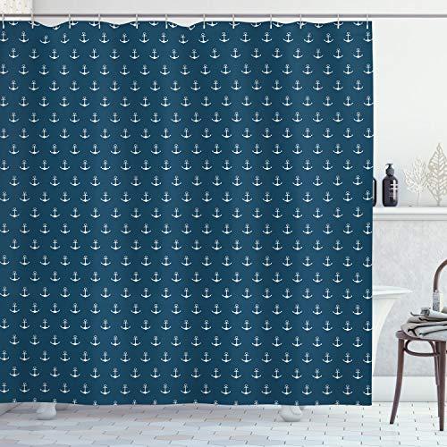 ABAKUHAUS Anker Duschvorhang, Nautical Simple Classic, Hochwertig mit 12 Haken Set Leicht zu pflegen Farbfest Wasser Bakterie Resistent, 175 x 200 cm, Blau-weiß