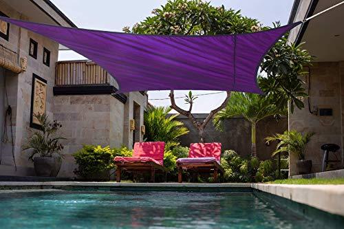 Laxllent Toldo rectangular de protección solar 96,5% UV bloque impermeable para jardín, patio, fiesta, con cuerda libre, 3 x 4 m, color violeta