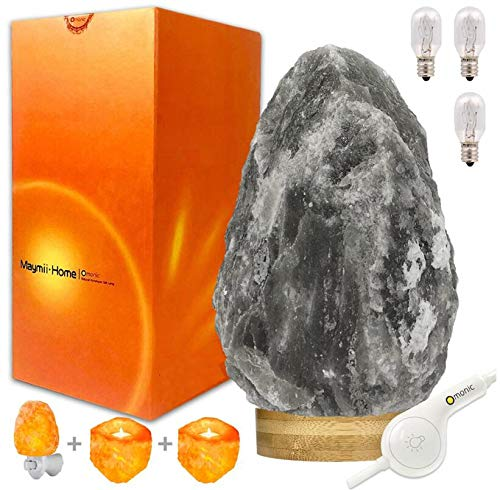 RARE Grey Gray White Black Authentic Himalayan Salt Lamp Lights set ( 5-8 lbs 7-11') ,Table Lamp...