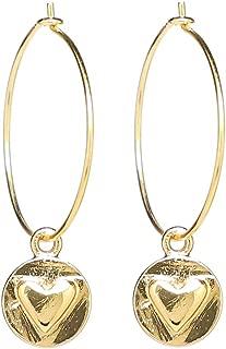 Erica Anenberg 22K Gold Heart Hoop Earrings - Gold Hoops - Heart Dangle Earrings