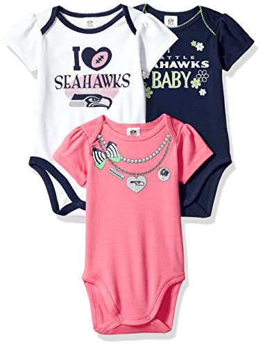NFL Seattle Seahawks Girls Short Sleeve Bodysuit (3 Pack), 0-3 Months, Pink>