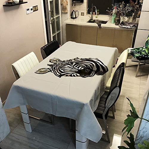 Oukeep 3D Modern Zebra Tischdecke Polyester Rechteckige Digitale Tischdecke Anti-Rutsch-Antifouling Home Fashion Tischdecke Hotel Restaurant Cafe Tischdekoration Stoff