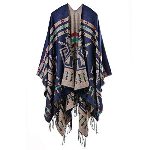MHO warme sjaal jas vrouwen bedrukte kwast open voorzijde Poncho Cape vest wrap sjaal mode verdikking lange trui jas grijs blauw zwart