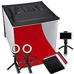 FOSITAN light tent, foldable photo studio 40x40cm for photography with LED lighting - photo tent with 2X 7W LED ring lights, tripod, 4 backgrounds, 3 color filters (3200K, 5500K, 9000K)